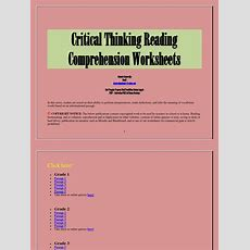 Critical Thinking Reading Comprehension Worksheets  Reading Comprehension  Reading (process