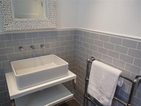 grey tile retro bathroom home design ideas