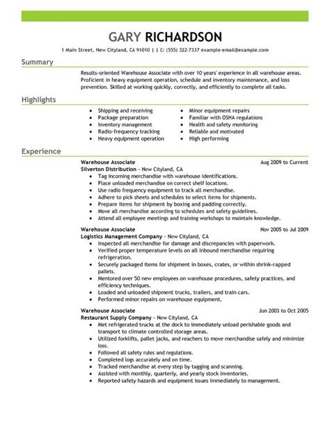 Free Website To Upload Resume by Free Warehouse Associate Resume Sle Free Resume Templates