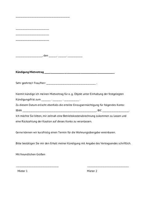 Vermieter Mietvertrag Kündigen by 9 Mietvertrag Einfach Muster Losgringosdr