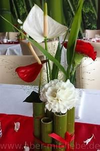 Bambus Pflege In Der Vase : tischgesteck in rot und wei nelke anthurie gr ser ~ Lizthompson.info Haus und Dekorationen