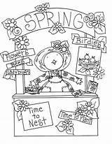 Spring Coloring Digi Birdie Booth Visit sketch template