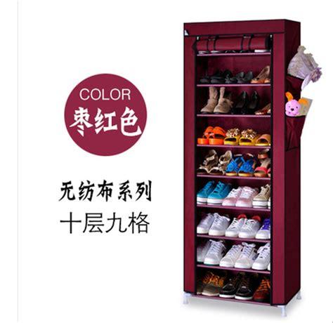 Rak Sepatu Aluminium 4 Susun jual rak sepatu kain minimalis 10 susun rangka aluminium