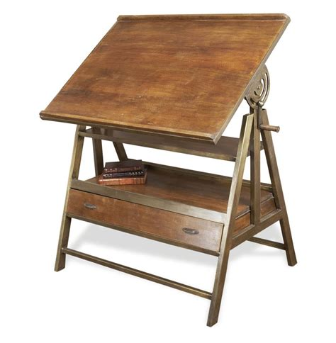 palestro antique wood and brass metal drafting desk