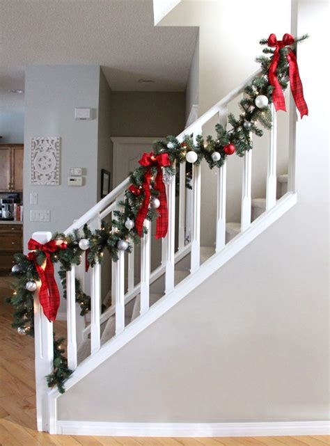 christmas staircase ideas  pinterest