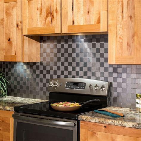 aspect peel  stick backsplash square matted metal tile
