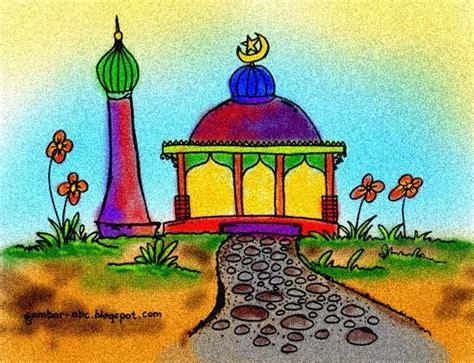 contoh gambar mewarnai masjid ilustrasi lukisan