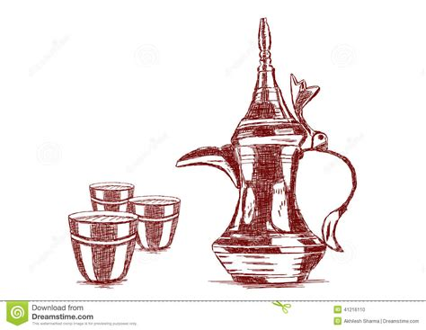 Old Style Hand Drawn Arabic Coffee Pot   Vector Stock Vector   Image: 41216110