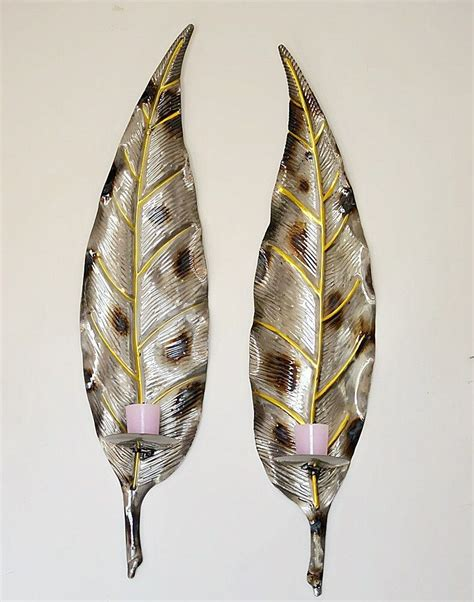 pair of large metal leaf wall pillar candle holder