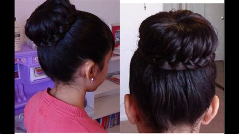 monochongo  trenza braided bun hair tutorial youtube