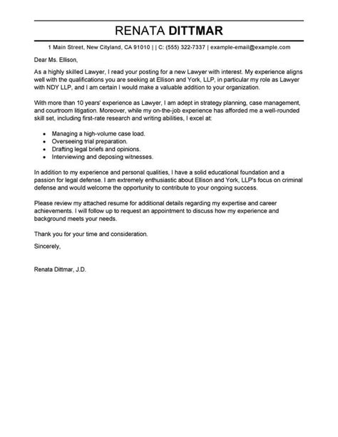 Sle Attorney Cover Letter by Attorney Cover Letter Sles Tipsense Me