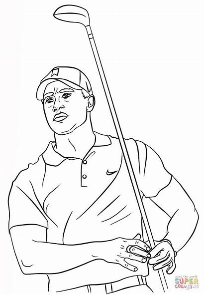 Tiger Woods Coloring Golf Printable Pages Clipart