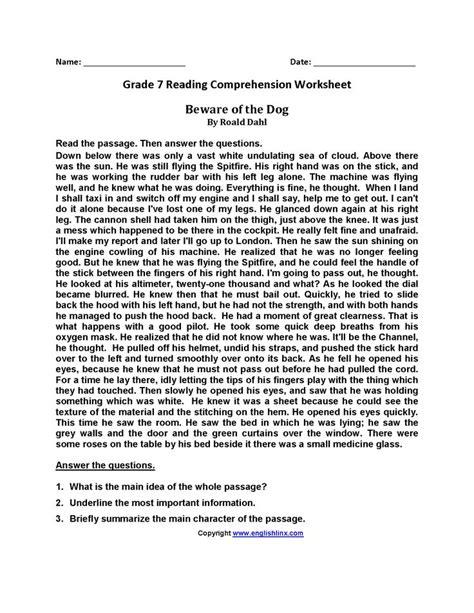 beware   dog seventh grade reading worksheets
