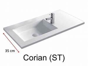 Vasque 35 Cm : vasques largeur 80 plan vasque type corian 80 x 35 cm ~ Edinachiropracticcenter.com Idées de Décoration