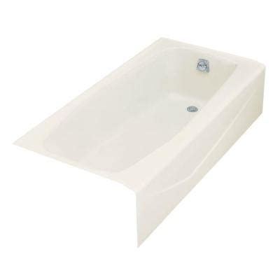 kohler villager 5 ft right drain cast iron bathtub in biscuit k 716 96 the home depot