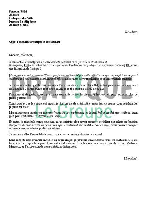 lettre motivation cuisinier collectivité candidature