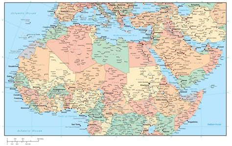 north africa  middle east region map  country areas