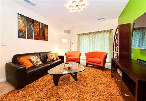 Orange Green And Brown Living Room