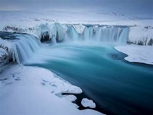 Ice, Go, U00f0afoss, Waterfall, In, The, Winter, Snow, Ice, Iceland