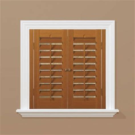 home depot wood shutters interior homebasics plantation faux wood oak interior shutter