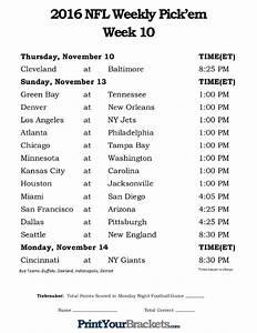 Printable Weekly Football Pool Sheet Printable Nfl Week 10 Schedule Pick Em Office Pool 2016