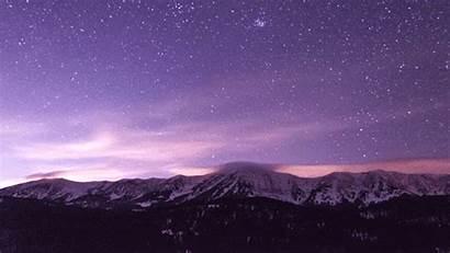 Sky Mountains Purple Stars Mountain Timelapse Night