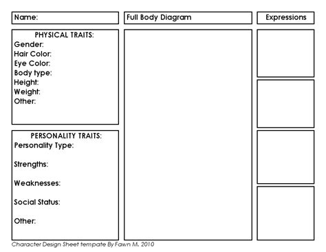 character profile template character design templates search classroom handouts character design