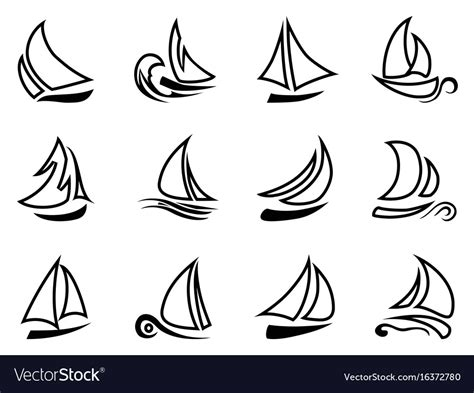 Sailboat Outline Vector Free by Black Sailboat Outline Icons Royalty Free Vector Image