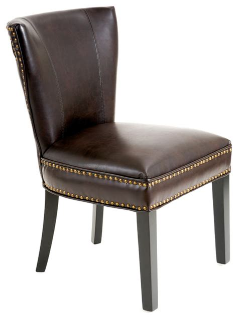 george dining chair brown leather contemporary