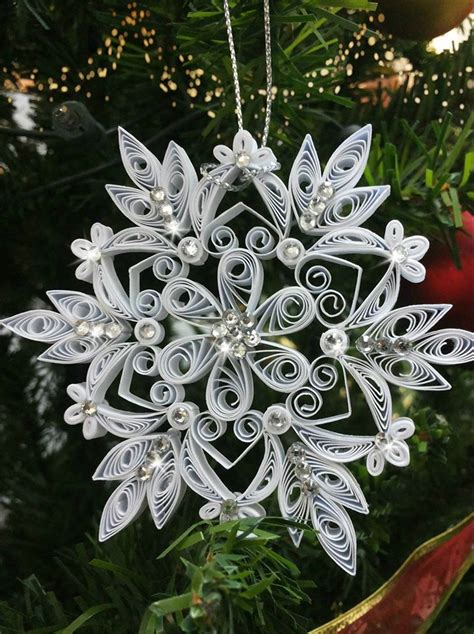 christmas tree ornament quilled snowflake  images