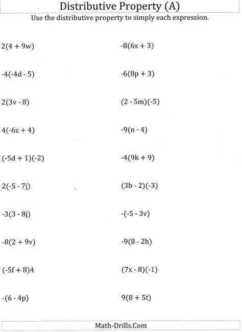 worksheet  math worksheets distributive property