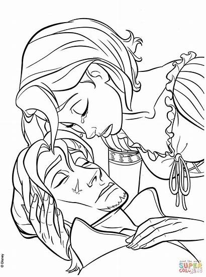 Coloring Pages Flynn Rapunzel Tangled Tear Rider