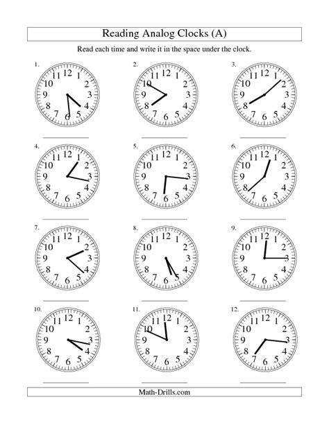 measurement worksheet reading time on an analog clock