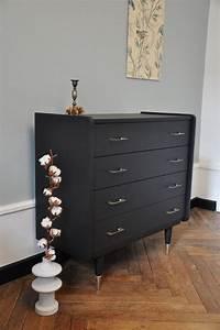 Pied De Meuble Vintage : commode vintage noire pieds laiton relooking meuble ~ Dallasstarsshop.com Idées de Décoration