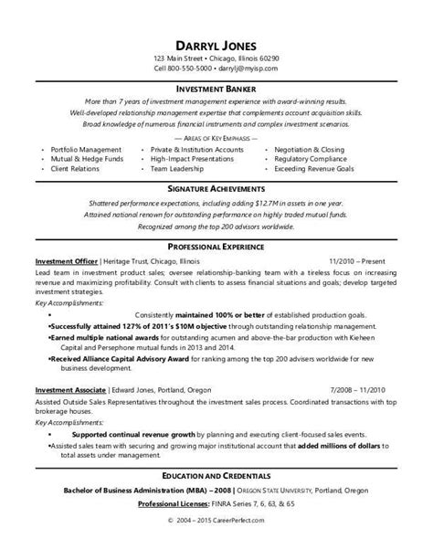 investment banking resume template investment banker resume sle