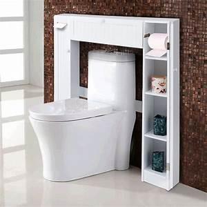 Costway, Wooden, Over, The, Toilet, Storage, Cabinet, Drop, Door, Spacesaver, Bathroom, White