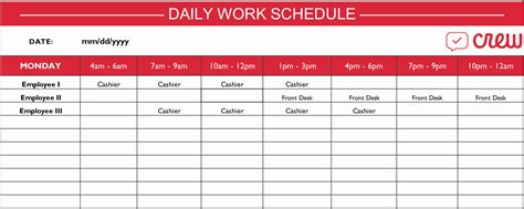 Work Schedule Template Employee Schedule Templates Exle Of Spreadshee Employee
