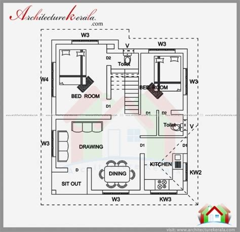 bed room house plan with stairs collection stylish 2 bedroom house plan and elevation in 700 sqft