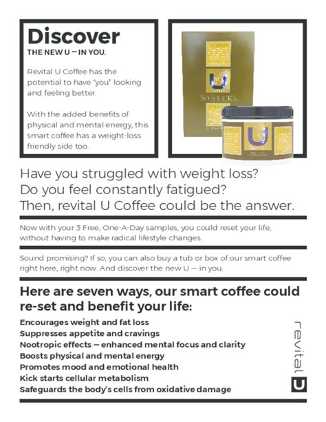 All ingredients are natural and our smart coffee is. Want to learn more about revital U Coffee? Check out this PDF for information about ingredients ...