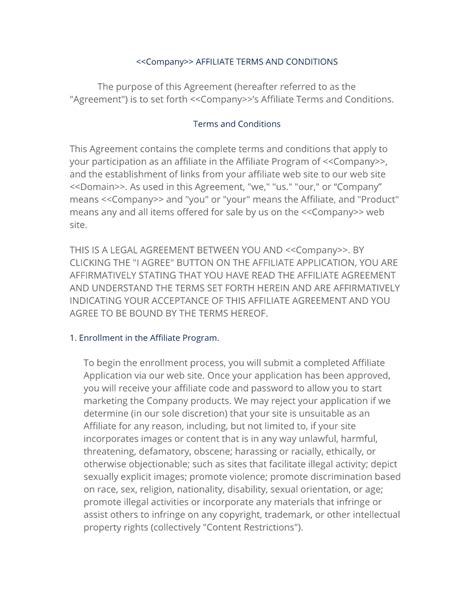 affiliate agreement template affiliate terms policy template
