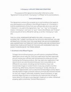 affiliate terms policy template With affiliate contract template