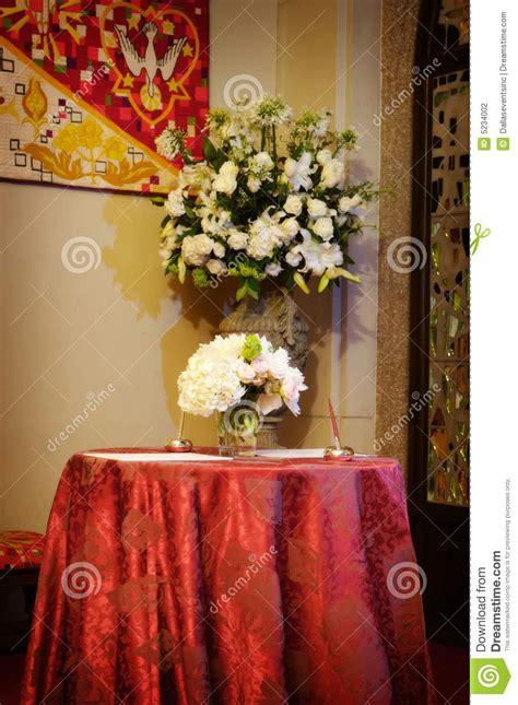 beautiful wedding flowers   church stock