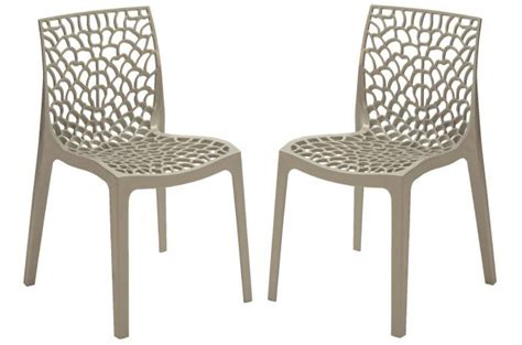 chaise de cuisine grise lot de 2 chaises design grise brillant gruyer opaque