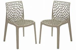 Chaise De Jardin Grise : lot de 2 chaises design grises gruyer chaise design pas cher ~ Teatrodelosmanantiales.com Idées de Décoration