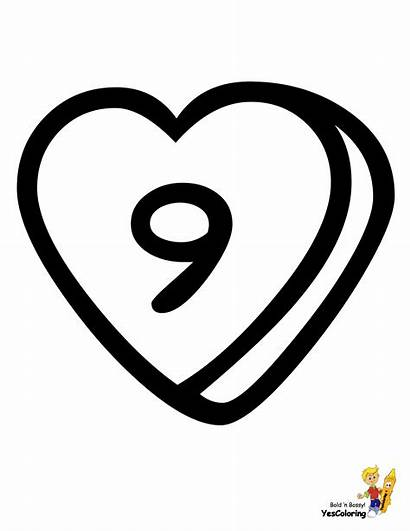 Number Coloring Valentine Alphabet Nine Numbers Pages