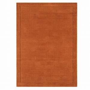 tapis design orange ocre en laine fait main en inde With tapis design orange