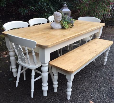 stunning handmade pine farmhouse table bench  chairs