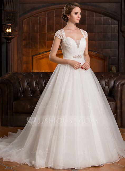 Ball Gown Sweetheart Court Train Organza Lace Wedding