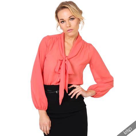 tie blouse krisp womens see through chiffon blouse tie