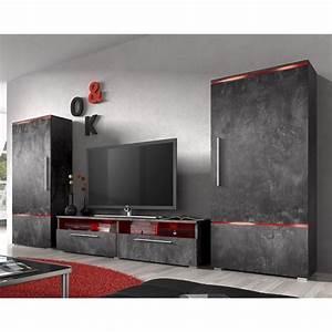Ensemble meuble tv couleur effet beton cire design canon 3 for Meuble effet beton cire